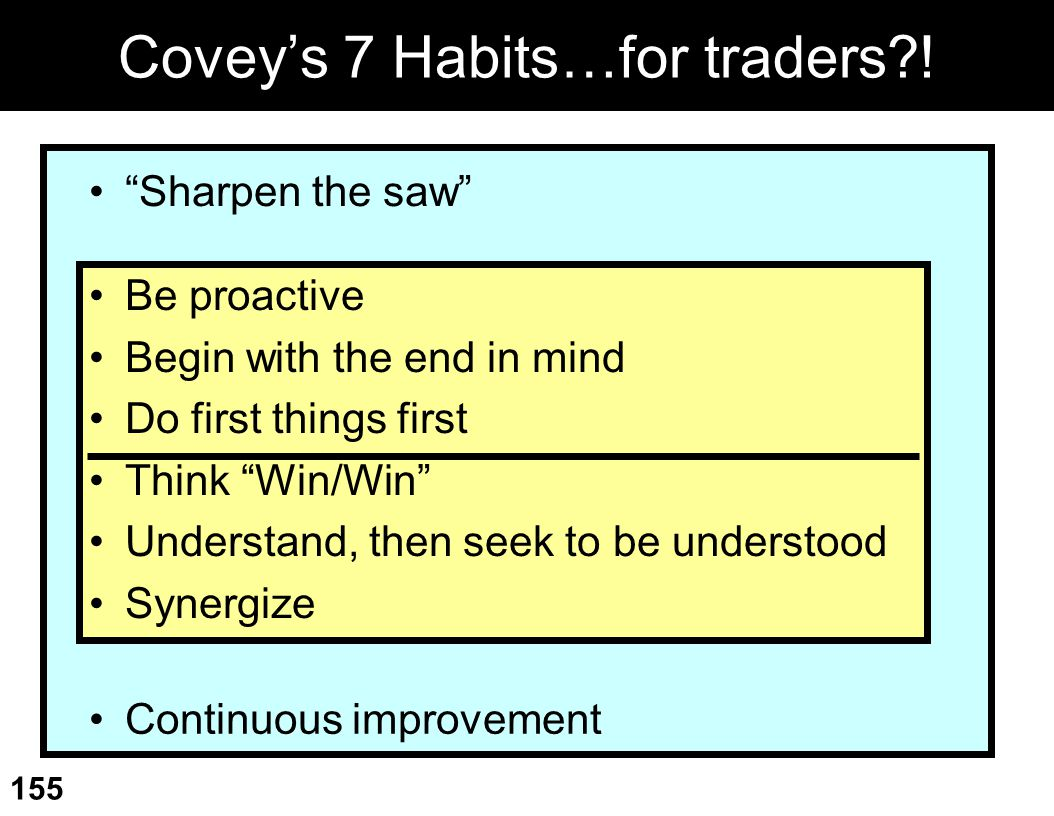 Covey's 7 Habits…for traders !