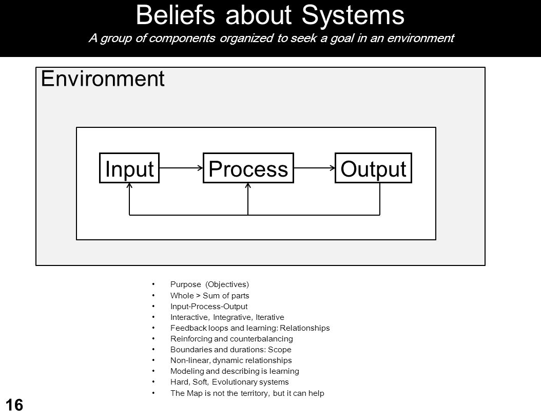Beliefs about Systems A group of components organized to seek a goal in an environment