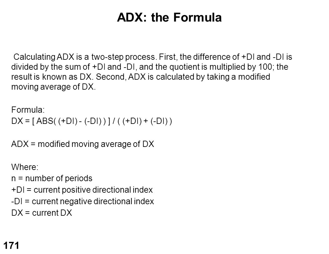 ADX: the Formula