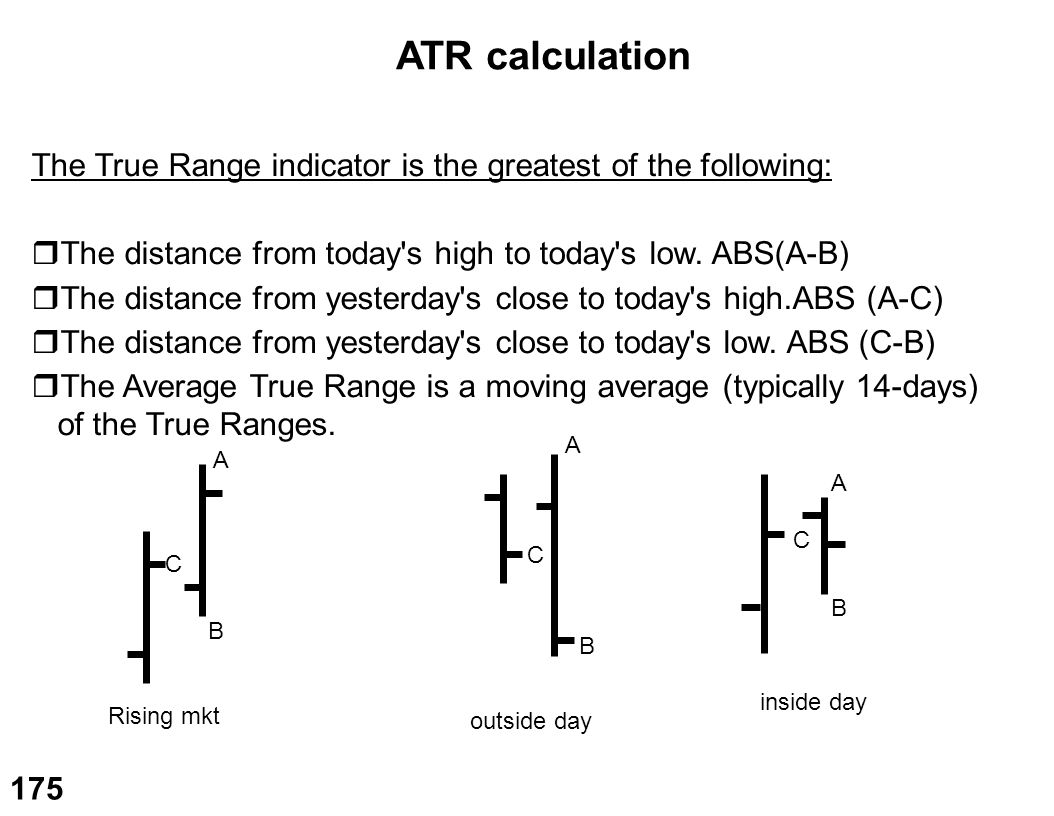 ATR calculation The True Range indicator is the greatest of the following: The distance from today s high to today s low. ABS(A-B)