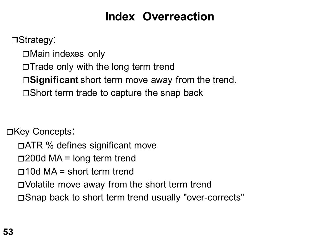 Index Overreaction Strategy: Main indexes only