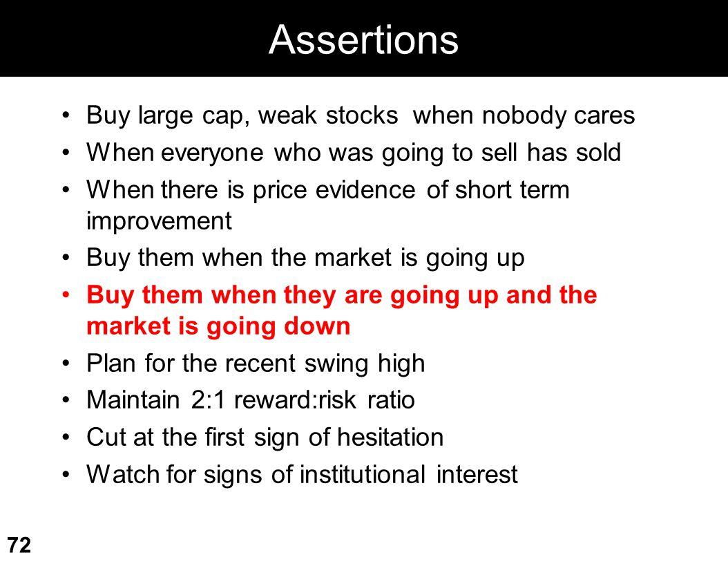 Assertions Buy large cap, weak stocks when nobody cares