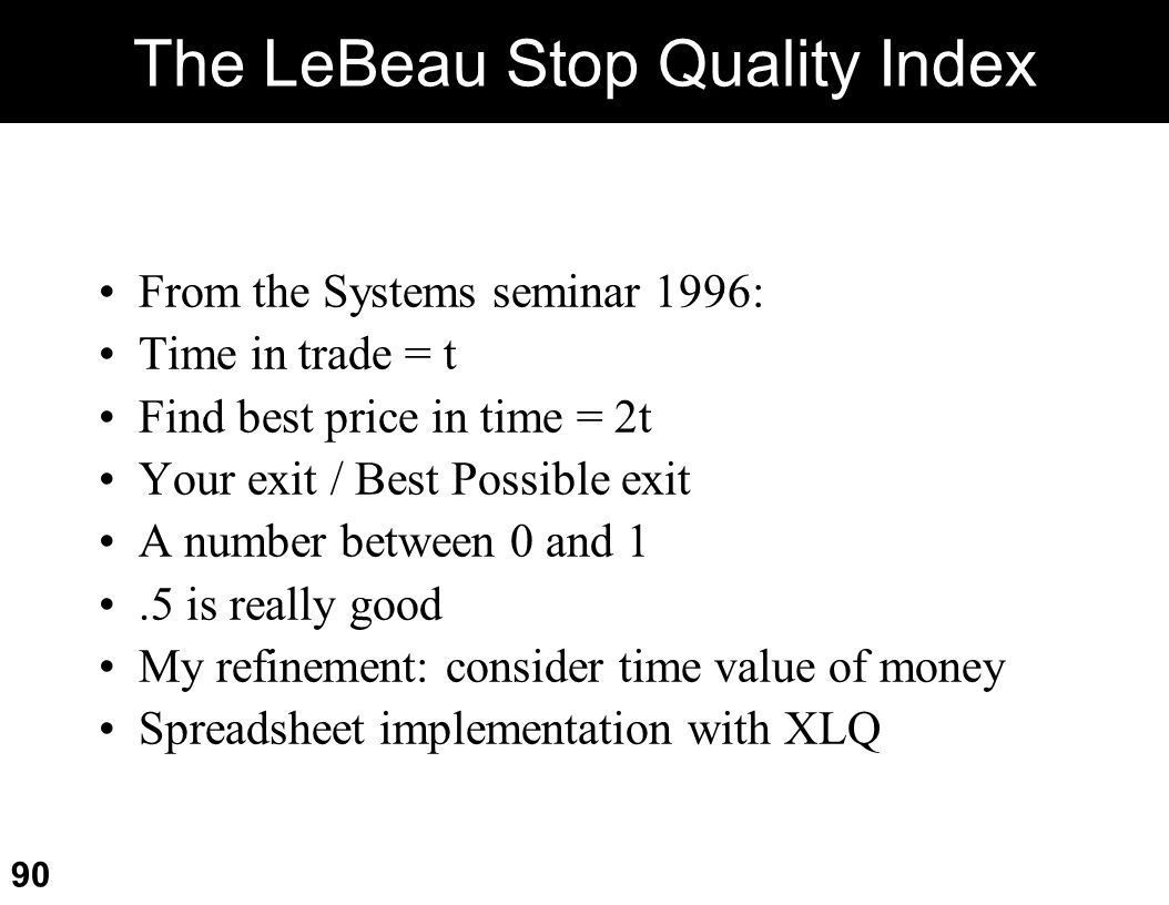 The LeBeau Stop Quality Index