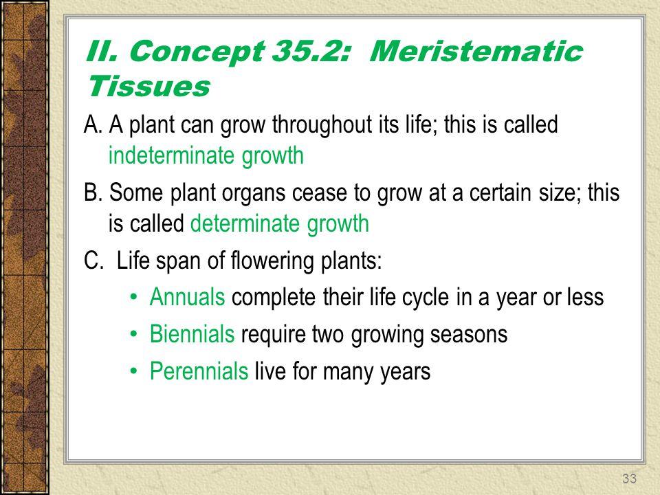 II. Concept 35.2: Meristematic Tissues
