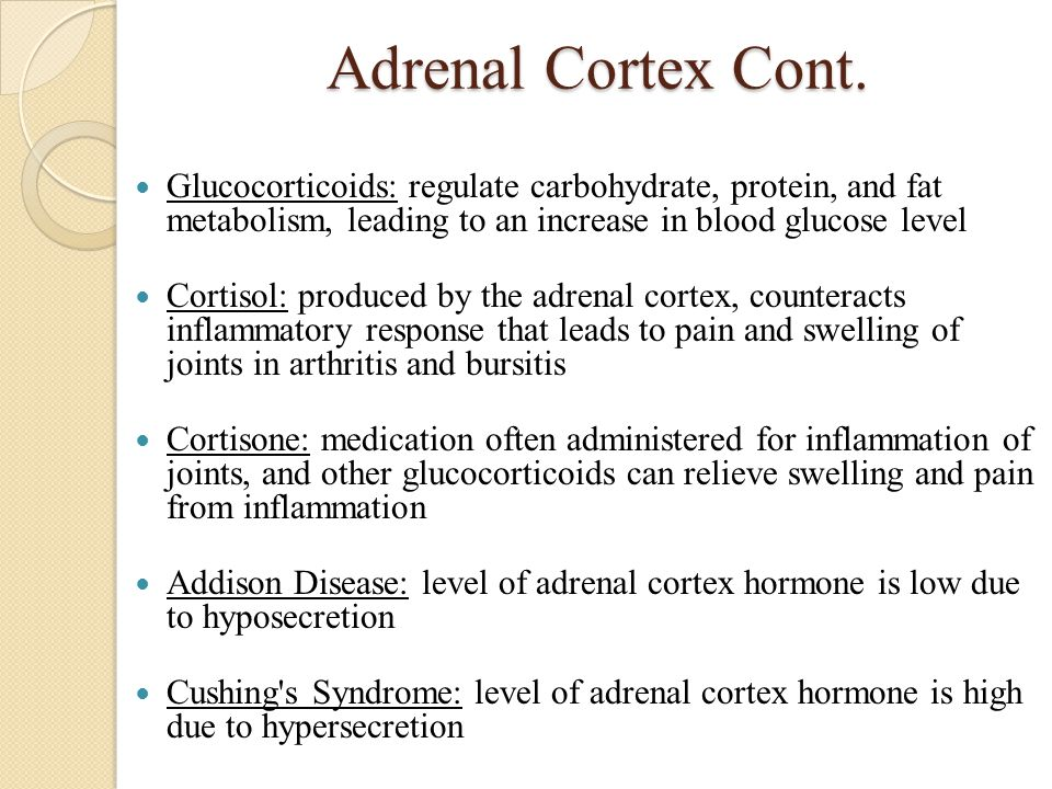Adrenal Cortex Cont. Glucocorticoids: regulate carbohydrate, protein, and fat metabolism, leading to an increase in blood glucose level.
