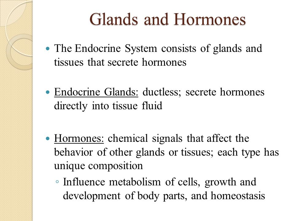 Glands and Hormones The Endocrine System consists of glands and tissues that secrete hormones.