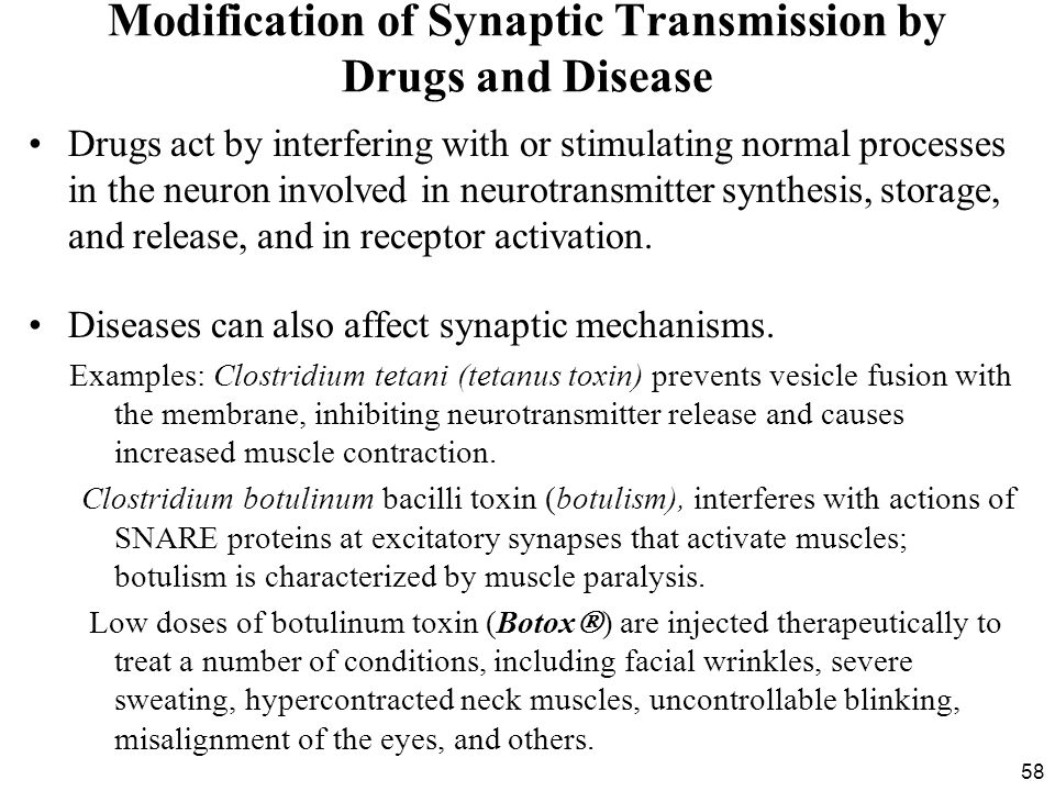 Modification of Synaptic Transmission by Drugs and Disease