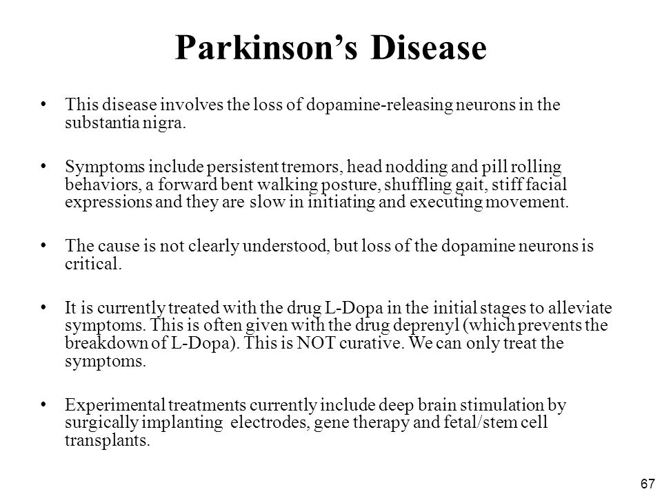 Parkinson's Disease This disease involves the loss of dopamine-releasing neurons in the substantia nigra.