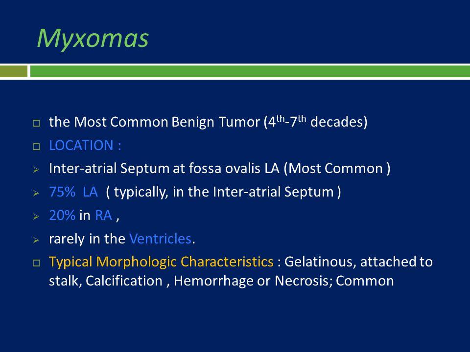 Myxomas the Most Common Benign Tumor (4th-7th decades) LOCATION :