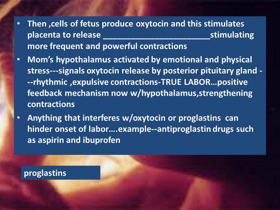Then ,cells of fetus produce oxytocin and this stimulates placenta to release _______________________stimulating more frequent and powerful contractions