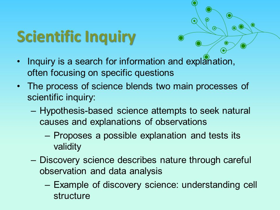Scientific Inquiry Inquiry is a search for information and explanation, often focusing on specific questions.