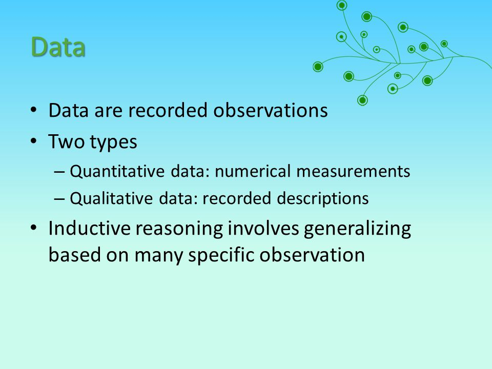 Data Data are recorded observations Two types