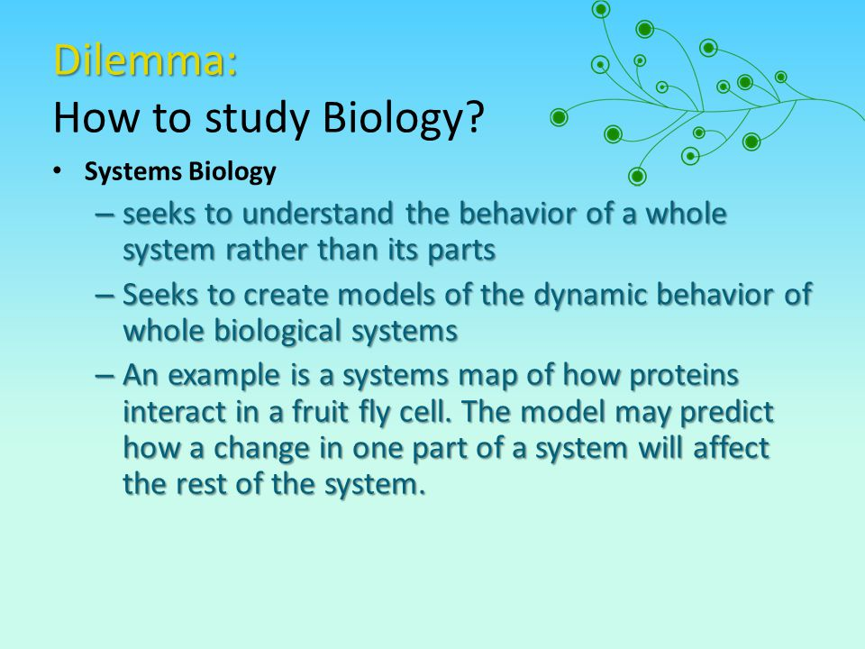 Dilemma: How to study Biology