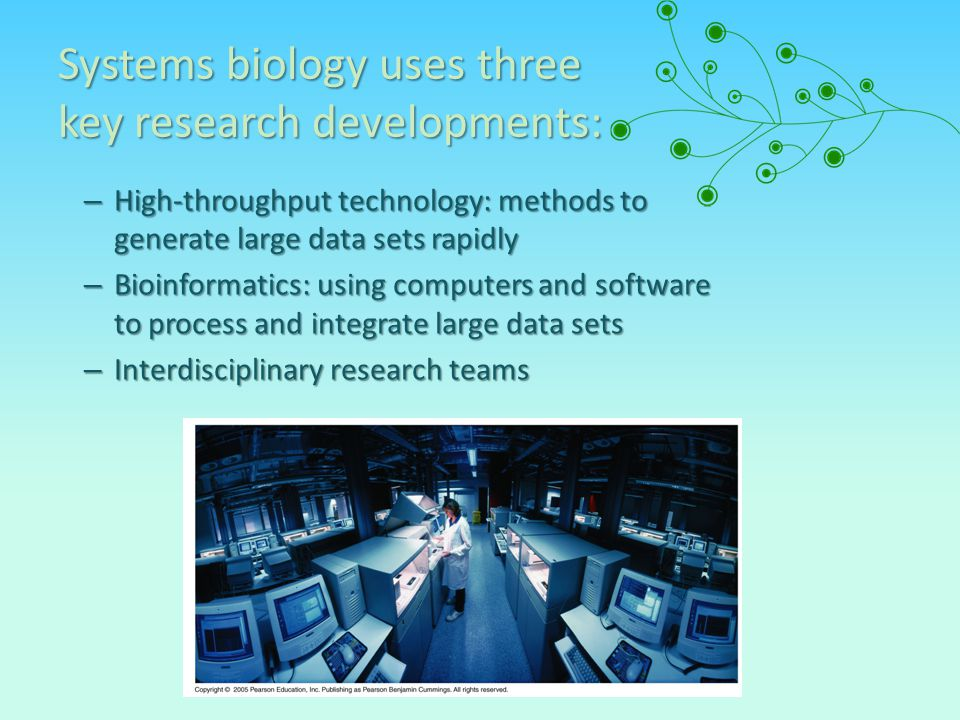 Systems biology uses three key research developments: