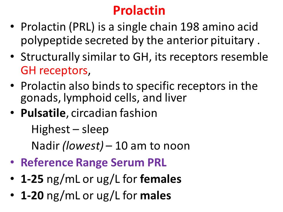 Prolactin Prolactin (PRL) is a single chain 198 amino acid polypeptide secreted by the anterior pituitary .