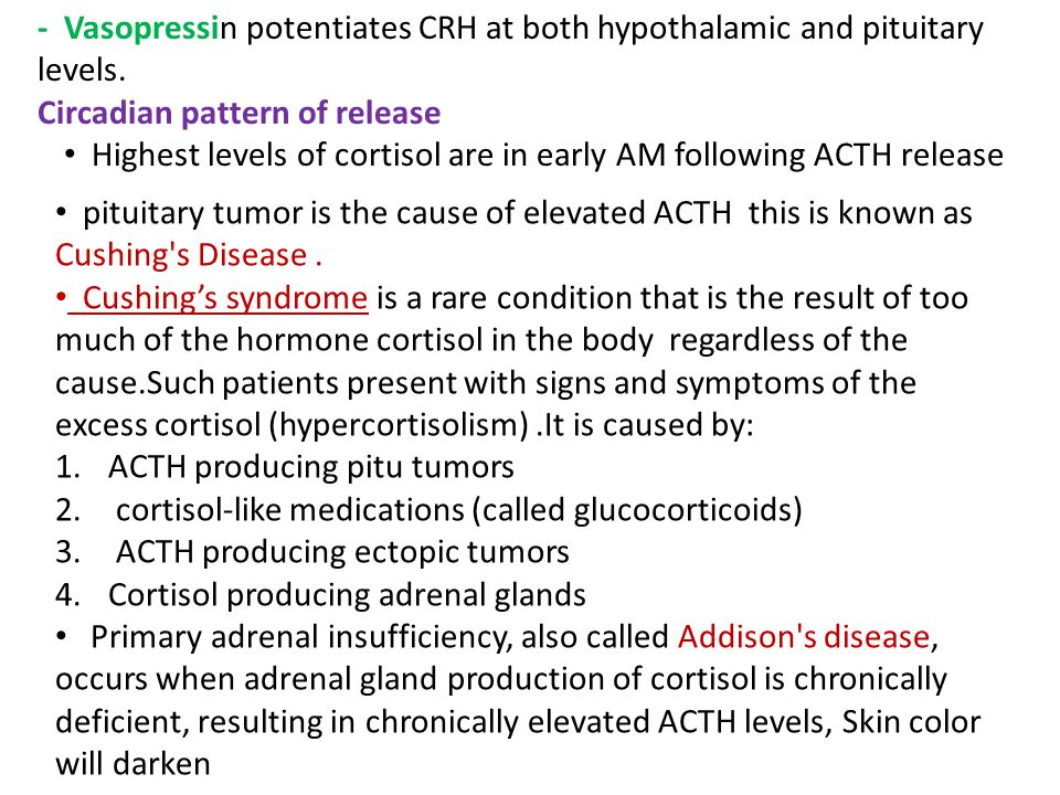- Vasopressin potentiates CRH at both hypothalamic and pituitary levels.