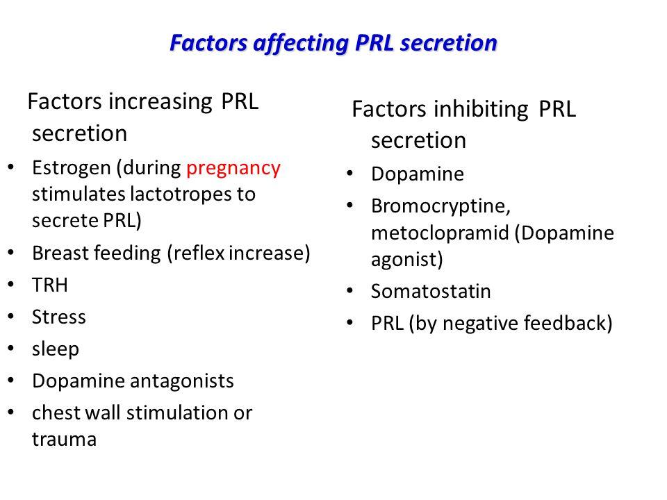 Factors affecting PRL secretion