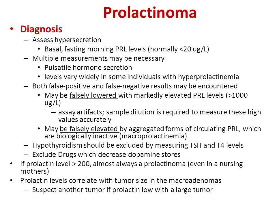 Prolactinoma Diagnosis Assess hypersecretion