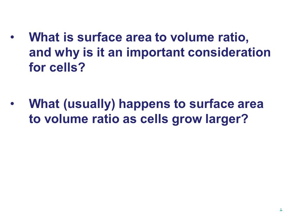 What is surface area to volume ratio, and why is it an important consideration for cells