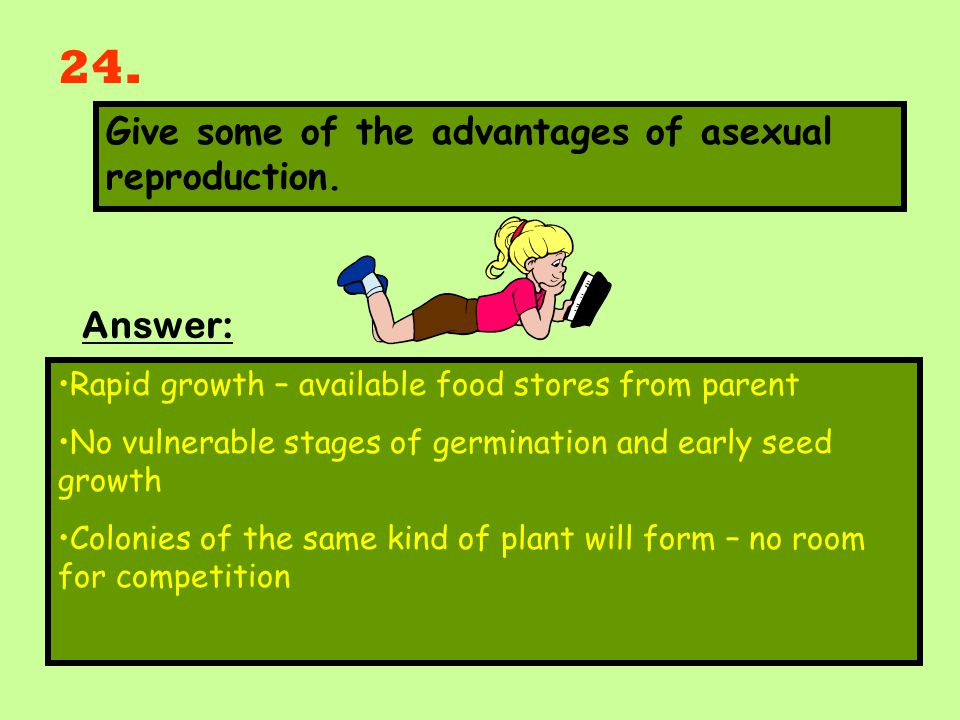 24. Give some of the advantages of asexual reproduction. Answer: