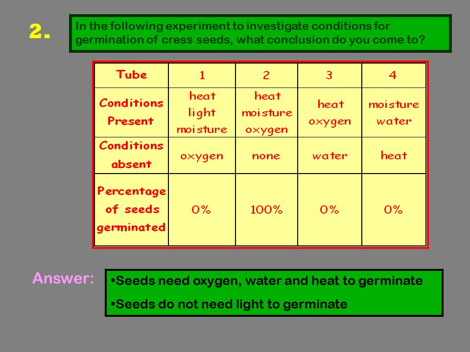 2. Answer: Seeds need oxygen, water and heat to germinate