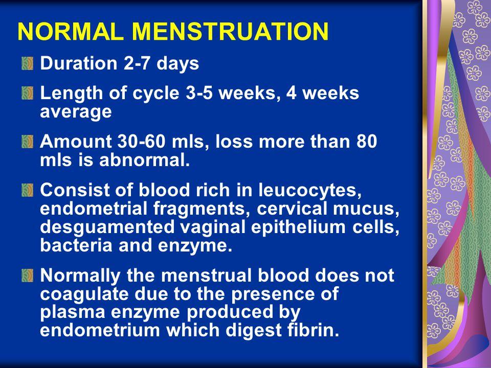 NORMAL MENSTRUATION Duration 2-7 days