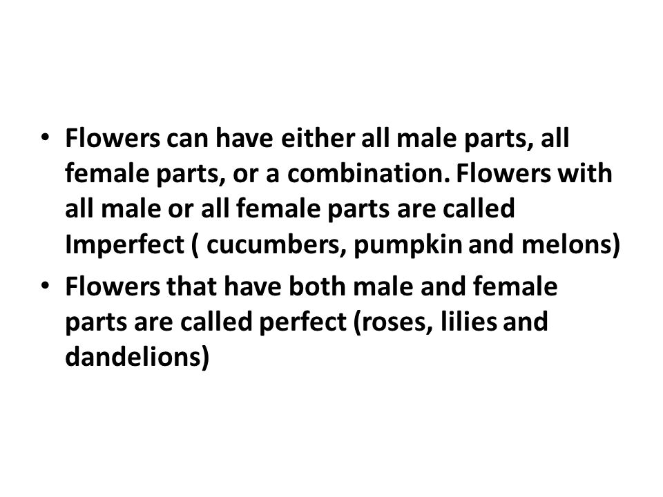 Flowers can have either all male parts, all female parts, or a combination. Flowers with all male or all female parts are called Imperfect ( cucumbers, pumpkin and melons)