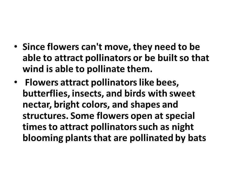 Since flowers can t move, they need to be able to attract pollinators or be built so that wind is able to pollinate them.