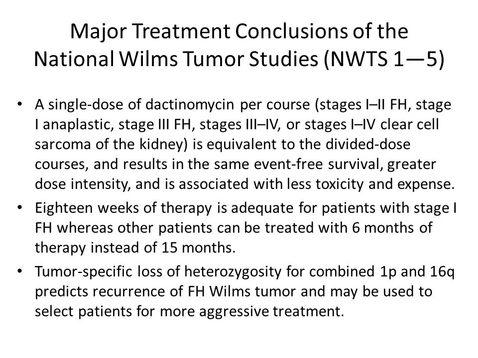 Major Treatment Conclusions of the National Wilms Tumor Studies (NWTS 1—5)