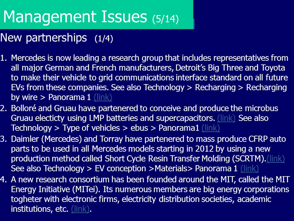 Management Issues (5/14) New partnerships (1/4)