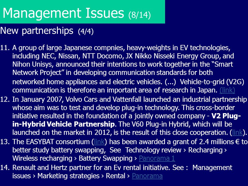 Management Issues (8/14) New partnerships (4/4)