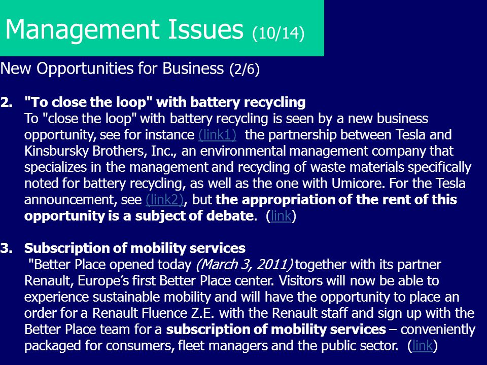 Management Issues (10/14) New Opportunities for Business (2/6)