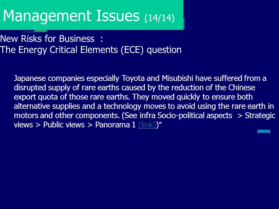 Management Issues (14/14) New Risks for Business :