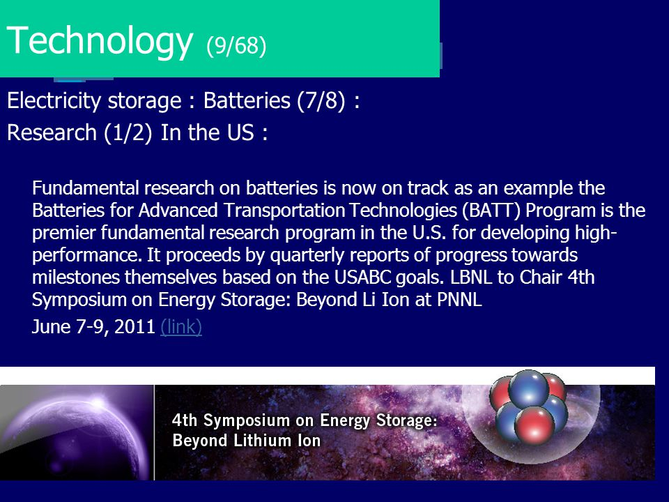 Technology (9/68) Electricity storage : Batteries (7/8) :