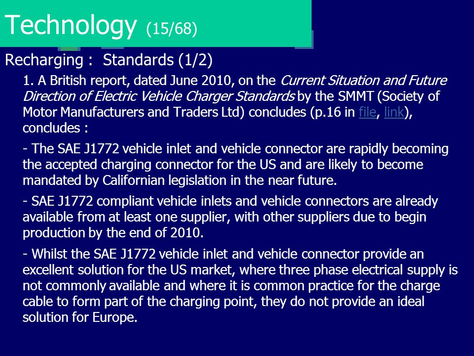 Technology (15/68) Recharging : Standards (1/2)
