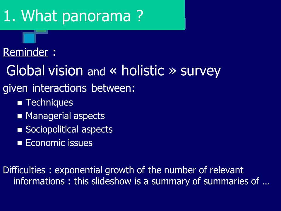 1. What panorama Reminder : Global vision and « holistic » survey