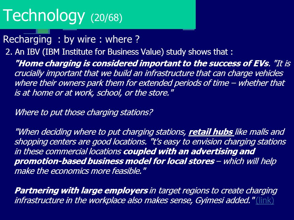 Technology (20/68) Recharging : by wire : where