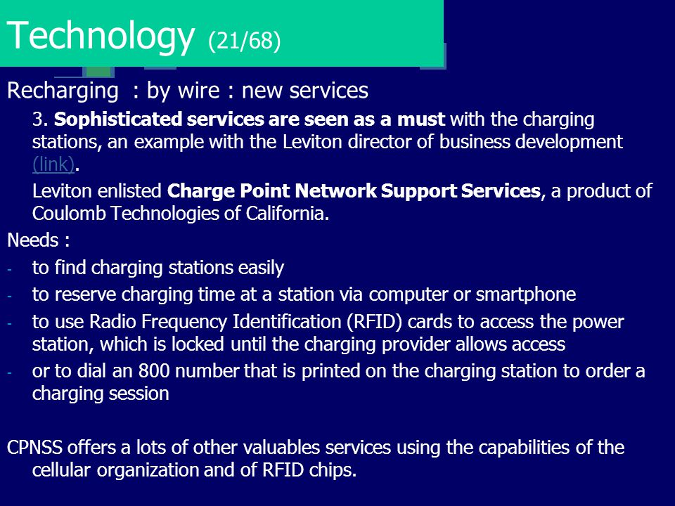 Technology (21/68) Recharging : by wire : new services