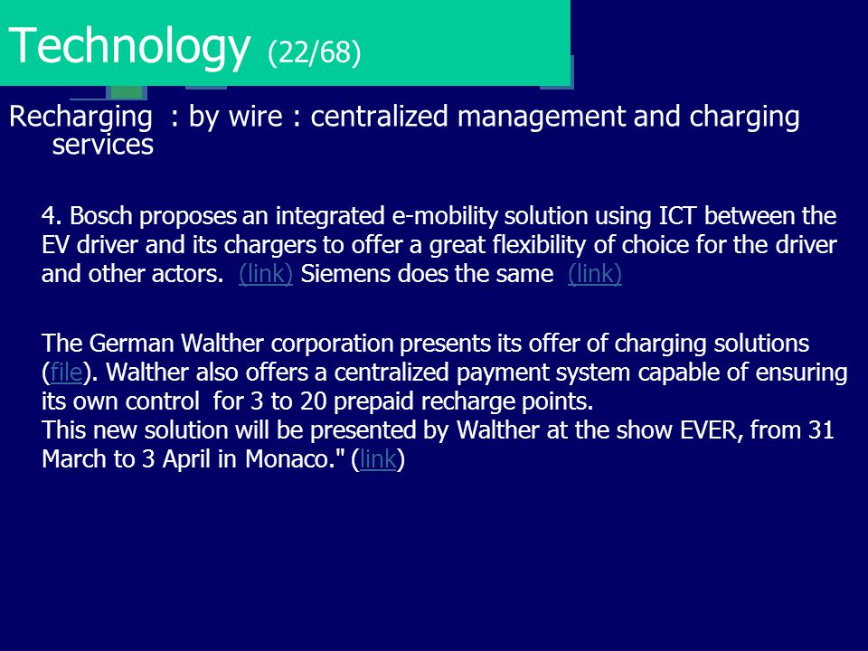 Technology (22/68) Recharging : by wire : centralized management and charging services.
