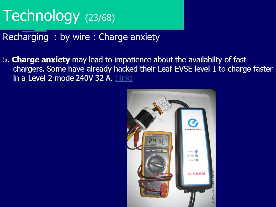 Technology (23/68) Recharging : by wire : Charge anxiety