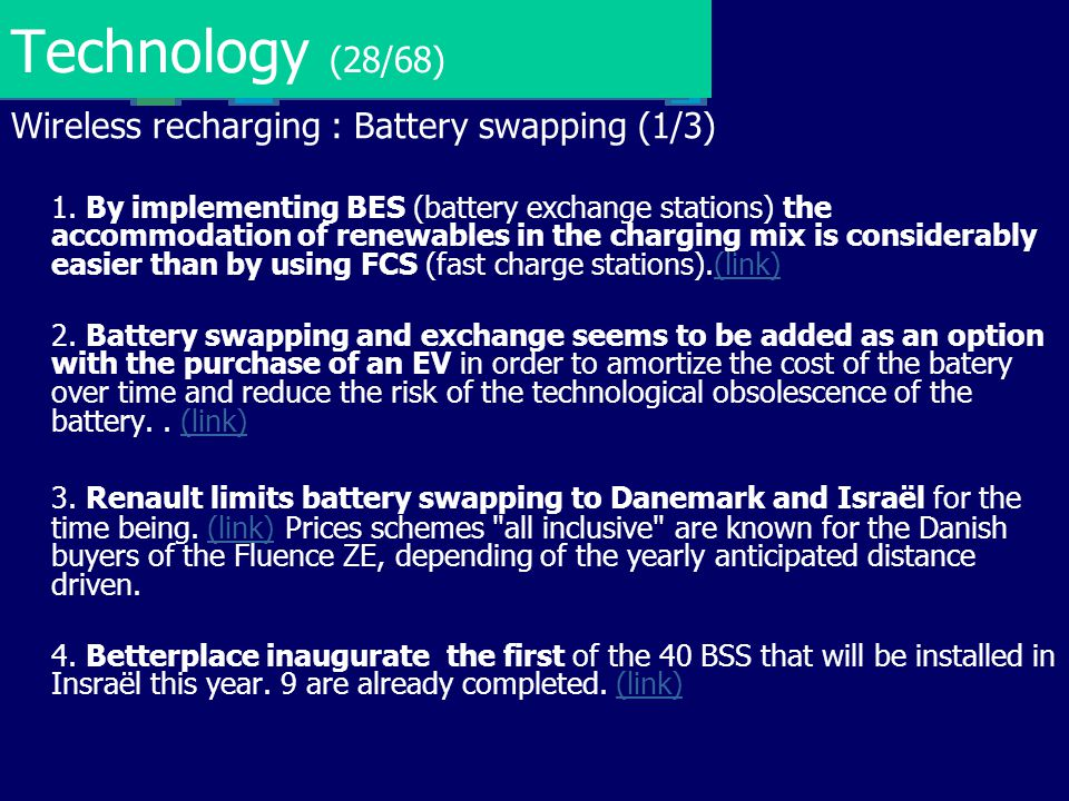 Technology (28/68) Wireless recharging : Battery swapping (1/3)