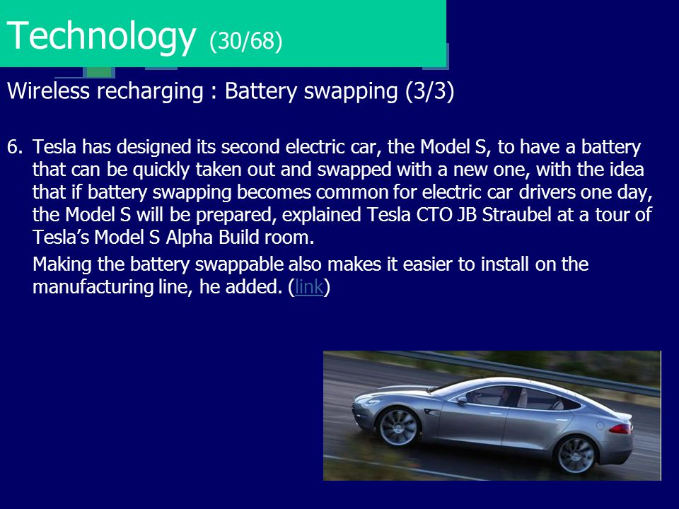 Technology (30/68) Wireless recharging : Battery swapping (3/3)