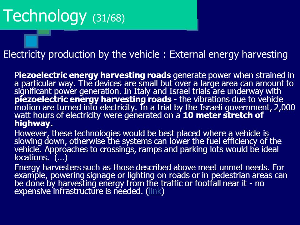 Technology (31/68) Electricity production by the vehicle : External energy harvesting.