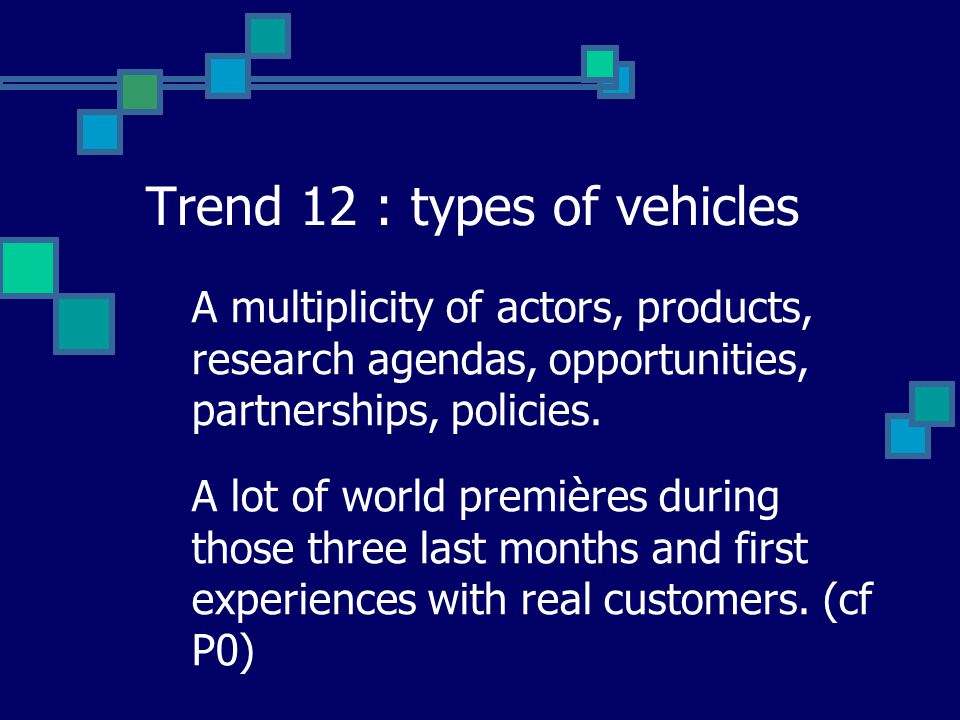 Trend 12 : types of vehicles