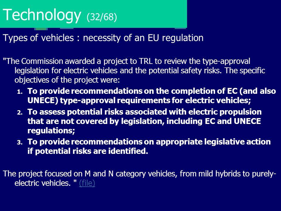 Technology (32/68) Types of vehicles : necessity of an EU regulation