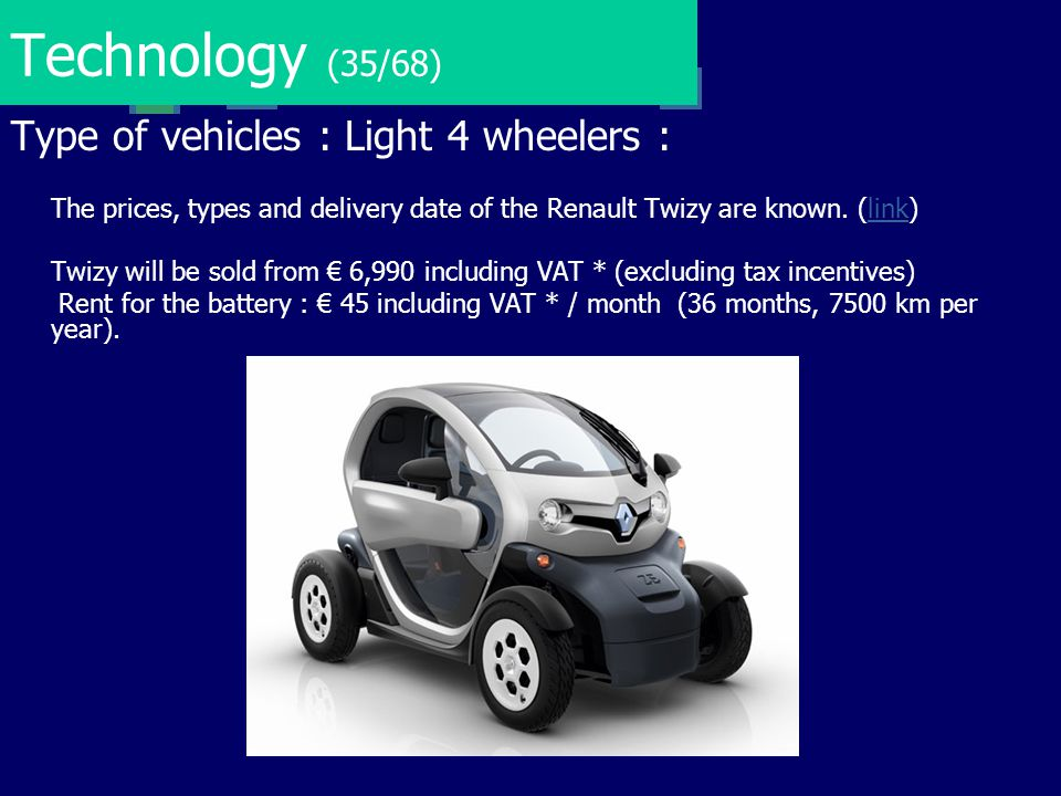 Technology (35/68) Type of vehicles : Light 4 wheelers :