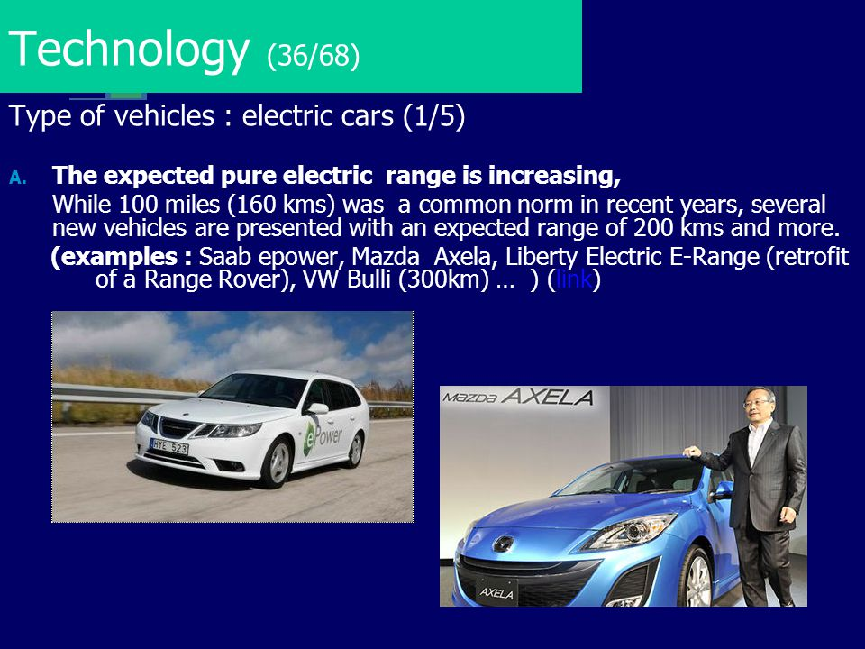 Technology (36/68) Type of vehicles : electric cars (1/5)