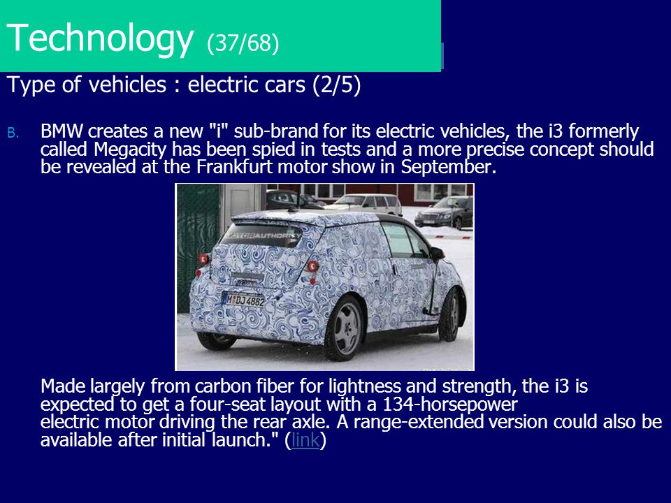 Technology (37/68) Type of vehicles : electric cars (2/5)