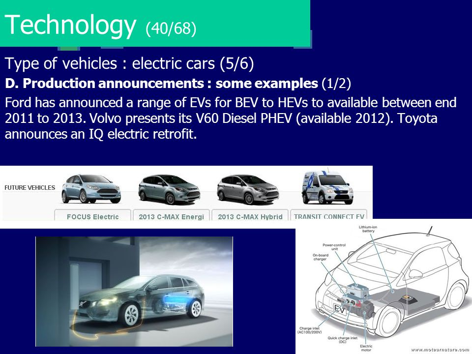 Technology (40/68) Type of vehicles : electric cars (5/6)