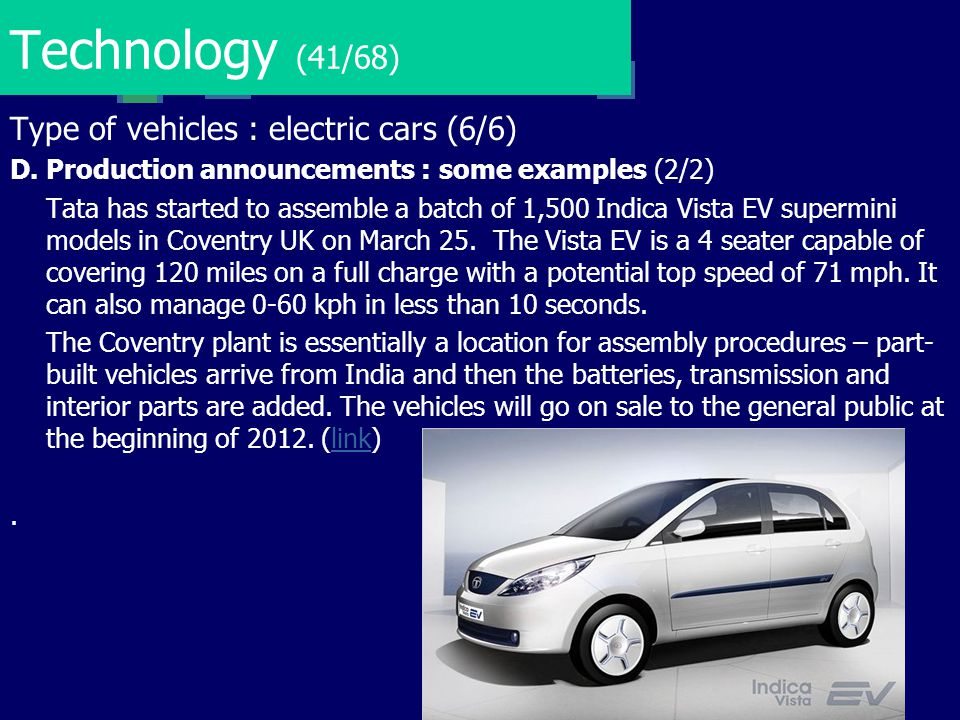 Technology (41/68) Type of vehicles : electric cars (6/6)